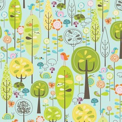 Happier Trees on Blue by Deena Rutter for Riley Blake Designs