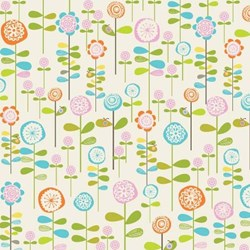 "39"" End of Bolt  - Happier - Flower Garden on White - by Deena Rutter for Riley Blake Designs"