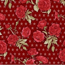 American Beauty - Red Rose on Red - by Henry Glass Fabrics