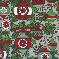 Holly Jolly - Main Ornament Print on Gray - Fat Quarter Single - by Jen Allyson of My Mind's Eye for Riley Blake Fabrics