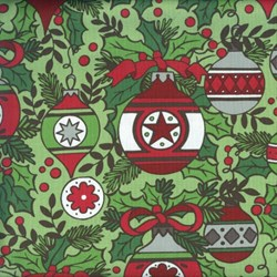 Holly Jolly - Main Ornament Print on Green -  by Jen Allyson of My Mind's Eye for Riley Blake Fabrics