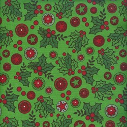 Holly Jolly - Berries on Green - Fat Quarter - by Jen Allyson of My Mind's Eye for Riley Blake Fabrics