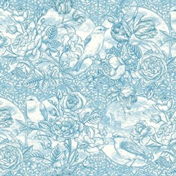 "42"" End of Bolt Piece - Romance - Blue Foral - by Jason Yenter for In The Beginning Fabrics"