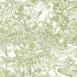 "39"" End of Bolt Piece - Romance - Olive Green Foral - by Jason Yenter for In The Beginning Fabrics"