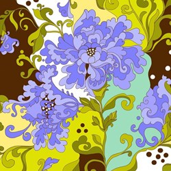 Isabella - Blue & Brown Large Floral Print - by Lila Tueller Designs for Riley Blake Designs