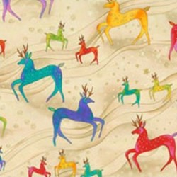 Laurel Burch Holiday Celebrations Deer in Cream by Clothworks