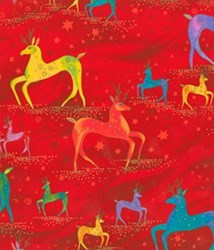 "17"" Remnant Piece Laurel Burch Holiday Celebrations Deer in Red by Clothworks"