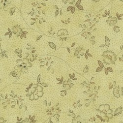 "61"" End of Bolt Piece - Mrs. March's Basics - Small Floral on Pale Yellow/Green - Lecien"