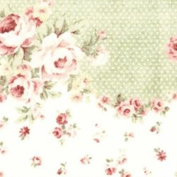 Durham Quilt Collection Anew - Green Dot Border on Pink Floral Print - by Brenda Riddle for Lecien