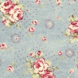 Durham Quilt Collection Anew Fat Quarter - Floral Bouquets on Blue - by Brenda Riddle for Lecien