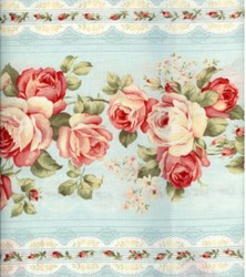Floral Collection in Pastel - Blue Rose Border Stripe - Lecien