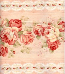 Floral Collection in Pastel - Pink Rose Border Stripe - Lecien