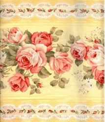 Floral Collection in Pastel - Yellow Rose Border Stripe - Lecien