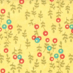 Lovely - Small Floral Toss on Yellow - by Sandy Gervais for MODA