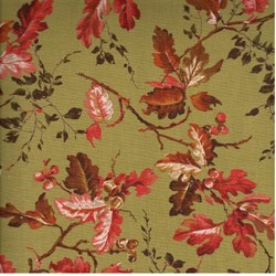 "24"" Remnant Piece - Arboretum - Olive/Red Small Leaves - by Sentimental Studios for Moda"