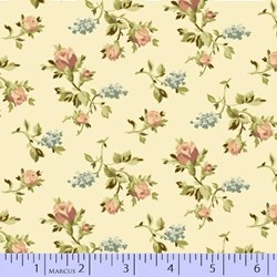 "8"" Remnant- Sachet Potpourri - Tans Small Florals Quilting Fabric ~  Marcus Brothers"