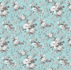 "19"" Remnant. Marie Antoinette - Large Floral on Turquoise - by Deborah Edwards for Northcott"