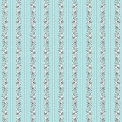 END OF BOLT - 2 Yards - Marie Antoinette - Turquoise Floral Stripe - by Deborah Edwards for Northcott