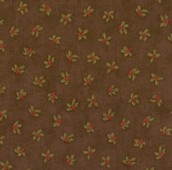 VINTAGE FIND! Mistletoe Manor Small Red Flowers on Brown by 3 Sisters for MODA