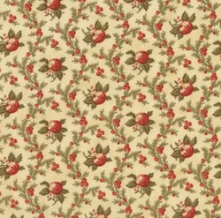 VINTAGE FIND! Mistletoe Manor Red Flower Vines on Cream by 3 Sisters for MODA