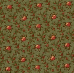 VINTAGE FIND! Mistletoe Manor Red Flower Vines on Green by 3 Sisters for MODA