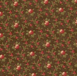 VINTAGE FIND! Mistletoe Manor Red Flower Vines on Brown by 3 Sisters for MODA