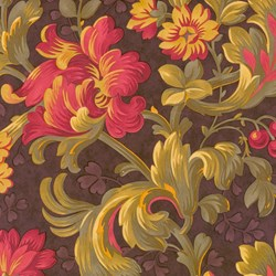 "VINTAGE FIND! Mistletoe Manor 54"" Large Floral on Brown by 3 Sisters for MODA"