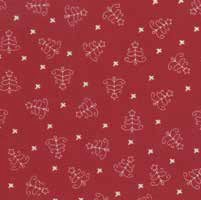 "End of Bolt - 58"" - Mistletoe Lane - Crimson Christmas Trees - by Bunny Hill Designs"