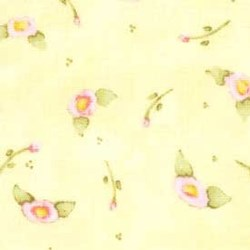 "(2) 14""x18"" Remnants- Nana's Garden Pink Flower Buds  on Yellow"
