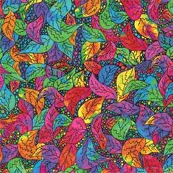Oodles of Doodles Multi Colored Leaves by Ricky Tims for Red Rooster Fabrics