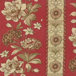 Pom Pom de Paris - Floral Stripe in Rouge - by French General for MODA