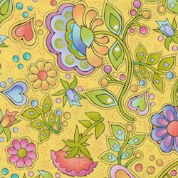 Silly Suggestions for Kids Whimsical Floral on Yellow by Susie Johnson for RJR Fabrics
