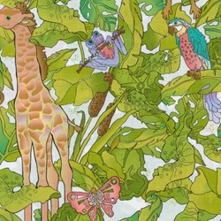 Silly Suggestions for Kids Safari Animals on White by Susie Johnson for RJR Fabrics