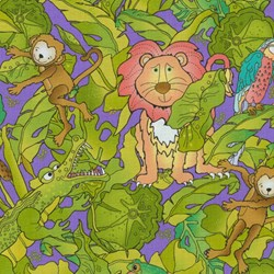 "9"" Remnant Piece - Silly Suggestions for Kids Safari Animals on Purple by Susie Johnson for RJR Fabrics"