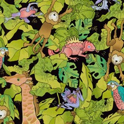 Silly Suggestions for Kids Safari Animals on Black by Susie Johnson for RJR Fabrics