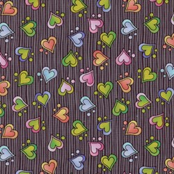 Silly Suggestions for Kids Hearts on Black by Susie Johnson for RJR Fabrics