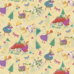 "52"" Remnant / End of Bolt - Magical Fairies on Yellow By Kim Martin For RJR Fabrics"