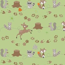 Fox Trails Friends on Green by Shari Butler of Doohickey Designs for Riley Blake Designs