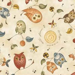 Shine - Owls - by Jackie Paton for Red Rooster Fabrics