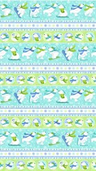Snow Bears - Flannel - Stripe Border Print - by Deborah Edwards for Northcott
