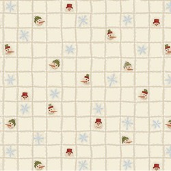 "78"" END OF BOLT - Snowbound - Cream Snowmen Heads Grid - by Buggy Barn for Henry Glass & Co. Inc."