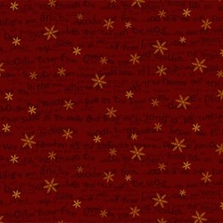 Snowbound - Red Tiny Words & Snowflake - by Buggy Barn for Henry Glass & Co. Inc.