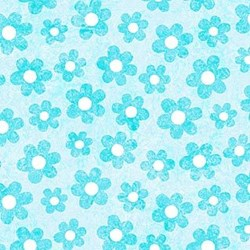 Stonehenge Little Girls Rainbow - Aqua Flowers - by Deborah Edwards and Linda Ludovico for Northcott