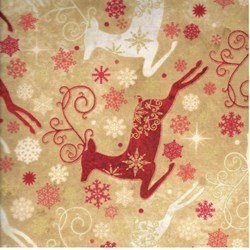 Reindeer Prance - Metallic Stonehenge Beige/Red Reindeer - By Deborah Edwards for Northcott