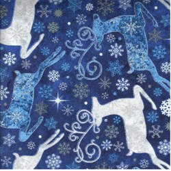"End of Bolt - 66"" - Reindeer Prance - Metallic Stonehenge Blue Reindeer - By Deborah Edwards for Northcott"