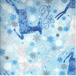 Reindeer Prance - Metallic Stonehenge Silver/Ivory/Blue Reindeer - By Deborah Edwards for Northcott