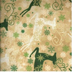 Reindeer Prance - Metallic Stonehenge Beige/Green Reindeer - By Deborah Edwards for Northcott