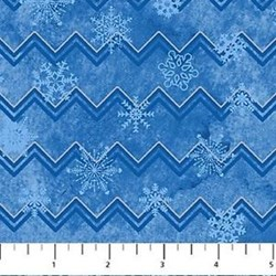 Reindeer Prance - Metallic Stonehenge Blue Snowflakes & ZigZags - By Deborah Edwards for Northcott