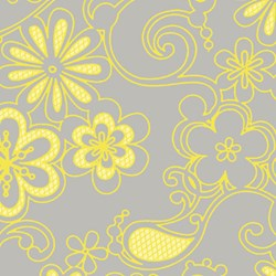 Yellow And Gray Floral Pattern Sweet Harmony - Yellow Floral