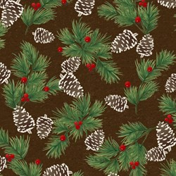 "60"" END OF BOLT - Woodland Retreat - Flannel - Pinecone - by Jan Shade Beach for Henry Glass & Co."